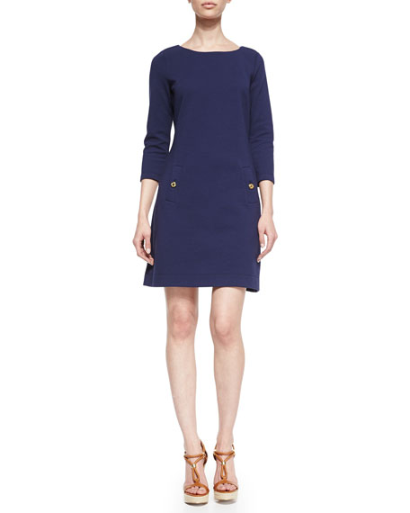 Charlene 3/4-Sleeve Pocket Dress, Navy