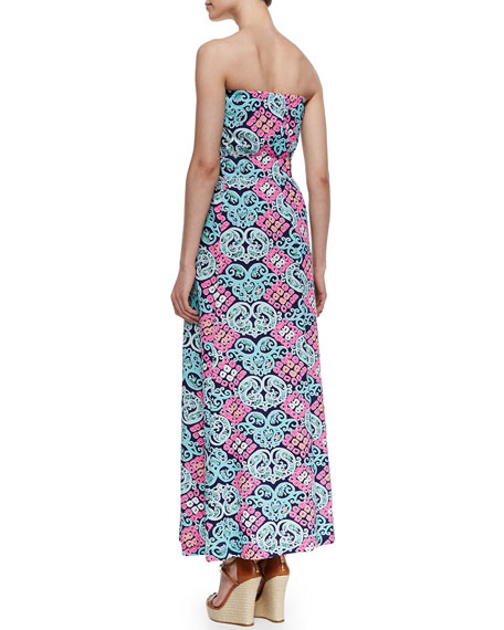 Marlissa Strapless Printed Jersey Maxi Dress