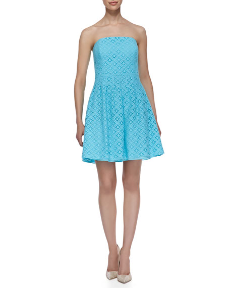 Caitlin Strapless XOXO Lace Dress, Shorely Blue