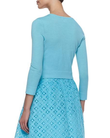 Charlotte Three-Quarter-Sleeve Cropped Cardigan, Shorely Blue