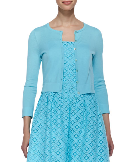 Charlotte Three-Quarter-Sleeve Cropped Cardigan, Shorely Blue