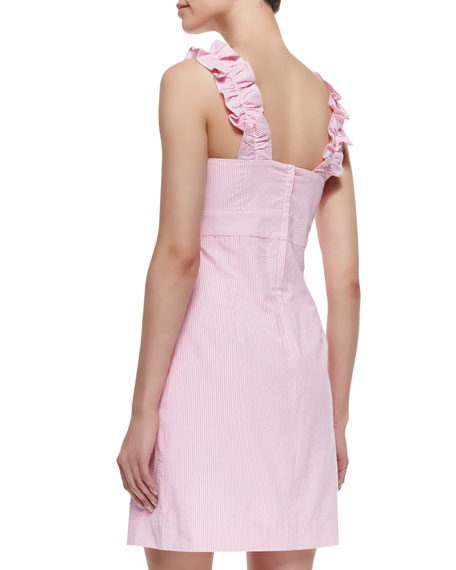 Phoebe Ruffle-Neck Seersucker Sheath Dress