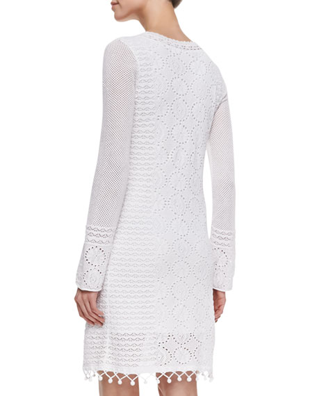 Athena Long-Sleeve Cotton Crochet Sweaterdress