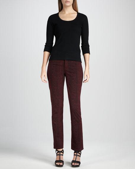 Sheri Python-Print Skinny Pants, Women's