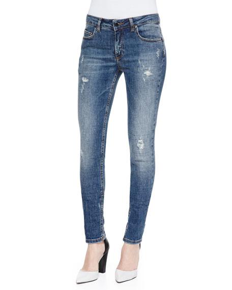 Deconstructed Super Skinny Denim Jeans