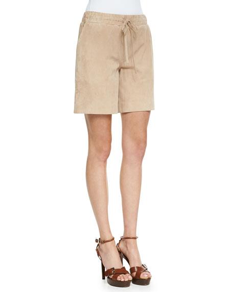 suede drawstring shorts
