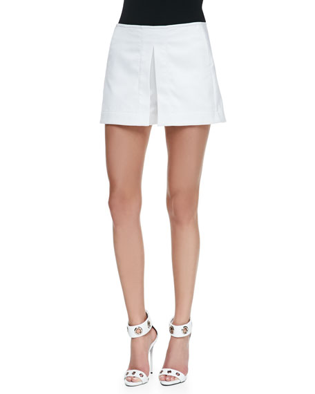 Front-Pleat Wide-Leg Shorts, White