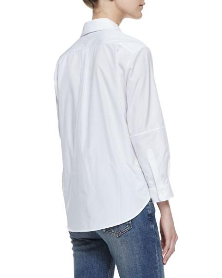 Basic Long-Sleeve Cotton Blouse