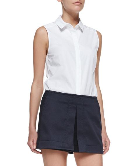 Sleeveless 50s Shirt, White