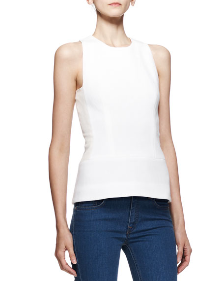 Sleeveless Fitted Round-Neck Top