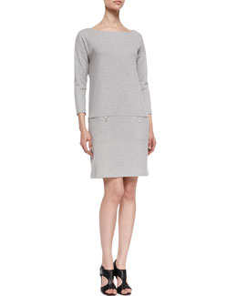 Joan Vass Knit Zip-Pocket Shift Dress, Petite