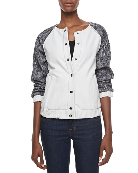 Tweed-Sleeve Bomber Jacket