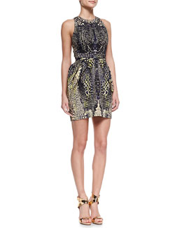 McQ Alexander McQueen Round Neck Open-Back Party Dress, Black/Nude/Multi