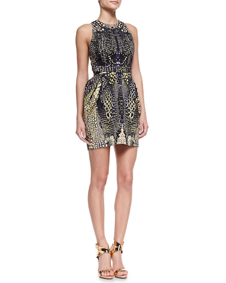 Round Neck Open-Back Party Dress, Black/Nude/Multi