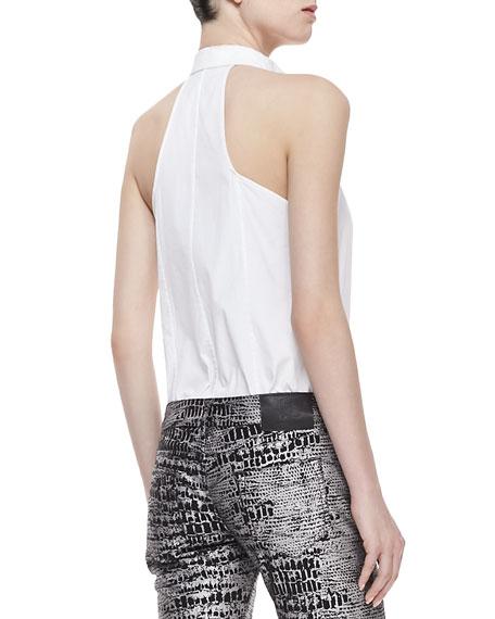 Sleeveless Halter Tux Shirt, White