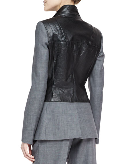 Flannel & Leather Biker Blazer, Urban Gray/Black