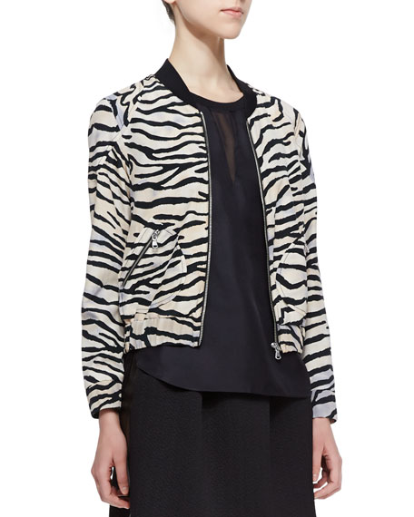 Tiger-Stripe Silk Bomber Jacket