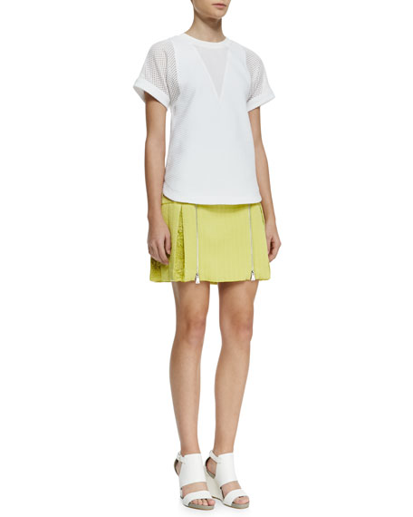 Rebecca Taylor Lace-Inset Brocade Zip Skirt