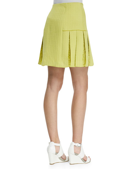 Lace-Inset Brocade Zip Skirt