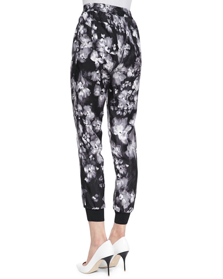 Ghost Flower Silk Pants, Black/White