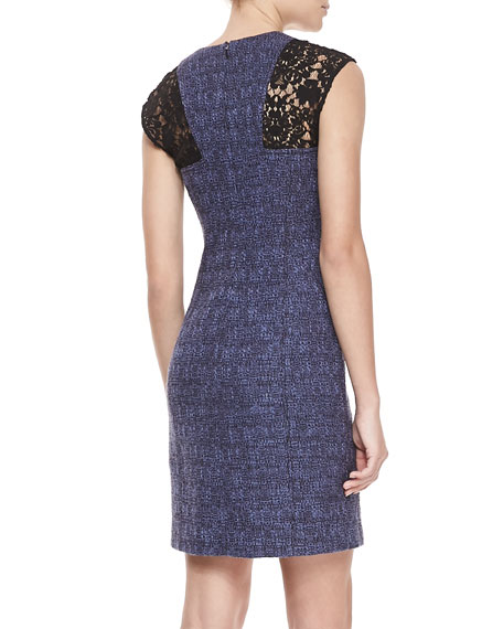 Lace-Inset Tweed Cap-Sleeve Sheath Dress