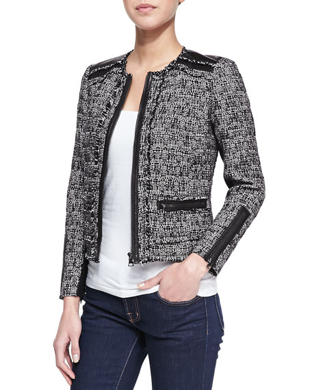 Long-Sleeve Tweed Jacket with Leather Trim, Black