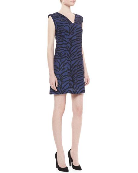 Sleeveless Tiger-Print Shift Dress, Midnight Blue/Black
