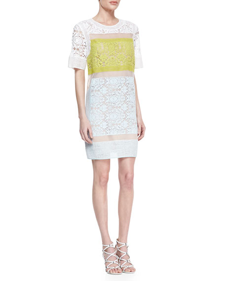 Runway Patchwork Sheer-Inset Lace Dress