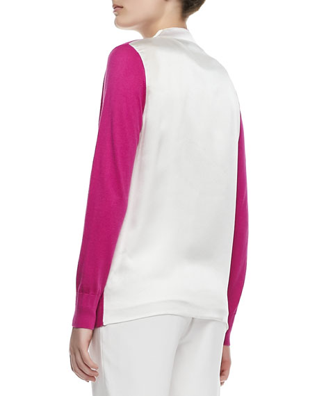 Open-Front Silk Cashmere Cardigan