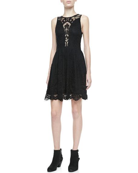 For Love Lemons Lulu Mesh Inset Lace Dress
