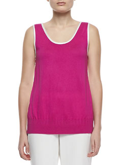 Magaschoni Silk Cashmere Scoop-Neck Tank