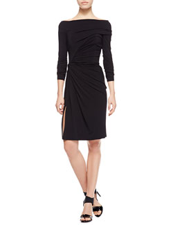 Paule Ka Ruched Matte Jersey Dress, Black