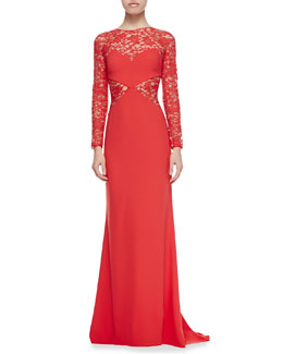 Paule Ka Long-Sleeve Lace-Netting & Crepe Gown