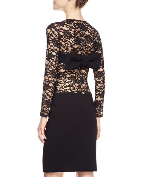 Long-Sleeve Lace-Netting & Crepe Cocktail Dress