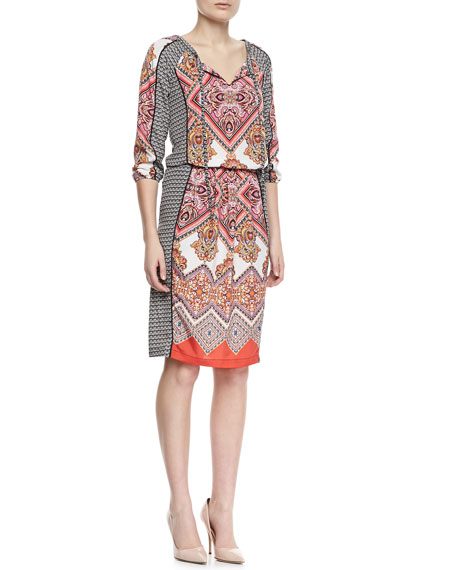 Paisley Border 3/4-Sleeve Dress