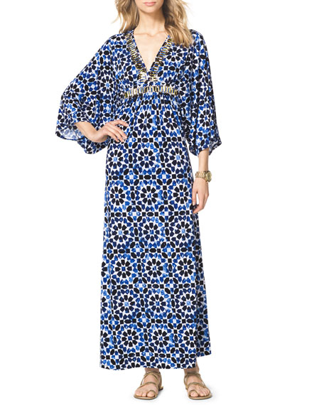 Studded Printed Maxi Dress