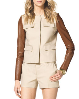 MICHAEL Michael Kors  Leather-Sleeve Twill Jacket