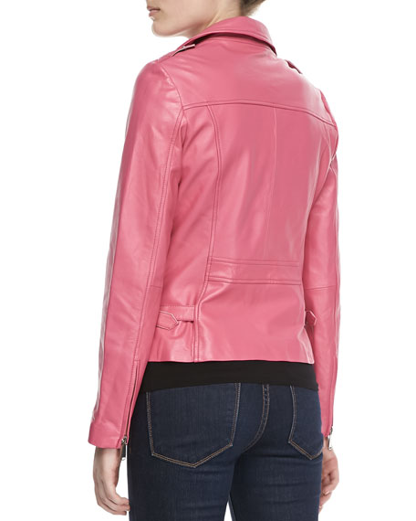 Motorcycle Zip-Front Leather Jacket, Bright Pink
