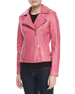Neiman Marcus Motorcycle Zip-Front Leather Jacket, Bright Pink
