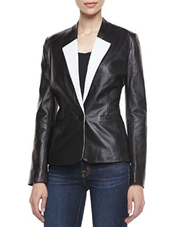 Neiman Marcus Two-Tone One-Button Blazer