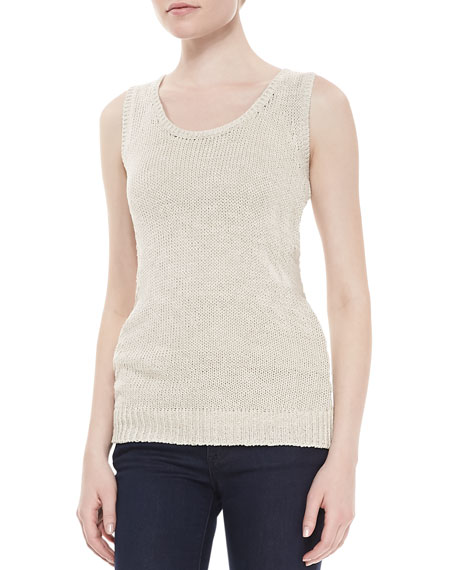 Nina Scoop-Neck Cotton-Linen Shell