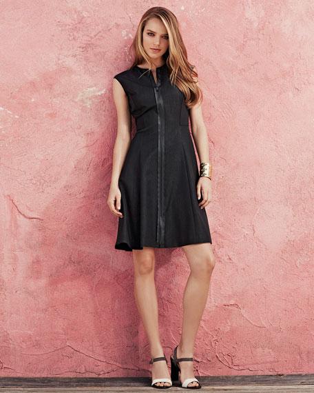 Tristen Front-Zip Sleeveless Dress