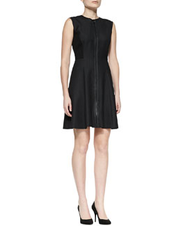 T Tahari Tristen Front-Zip Sleeveless Dress