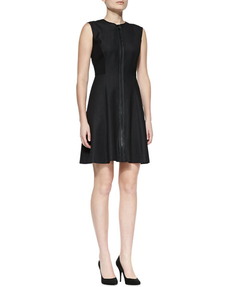 Tristen Front-Zip Sleeveless Dress