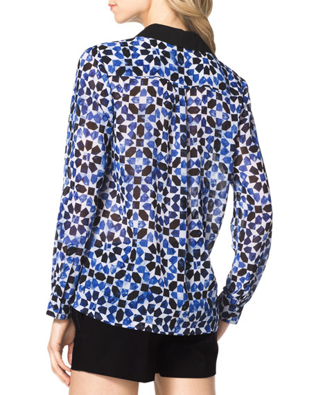 Printed Solid-Trim Blouse