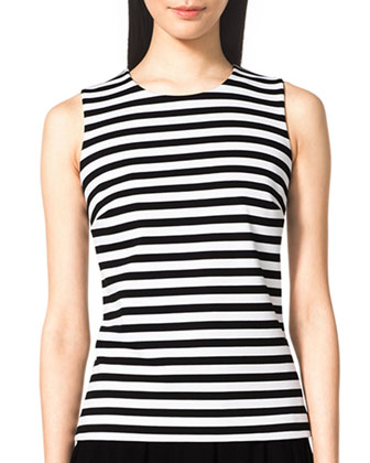 Striped Sleeveless Ponte Top