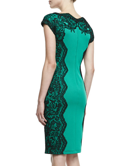 Lace-Panel Cocktail Dress, Jade/Black