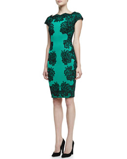 Tadashi Shoji Lace-Panel Cocktail Dress, Jade/Black