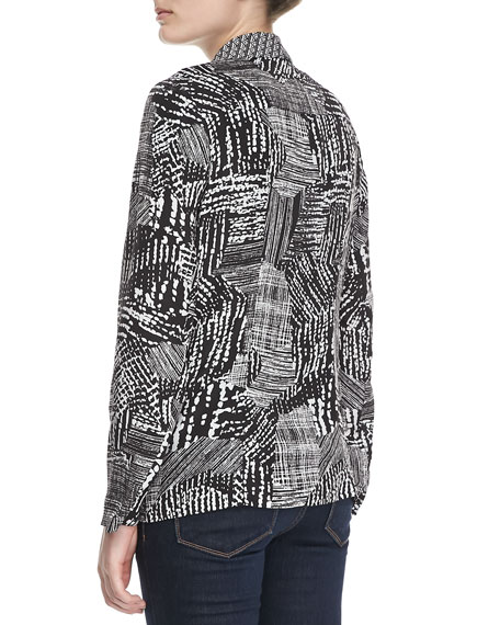 Graphic Print Relaxed Jacket, Black/White
