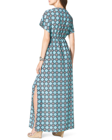 Diamond-Print Short-Sleeve Maxi Dress
